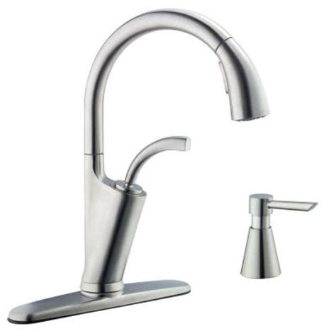 glacier bay kitchen faucets glacier bay heston single handle pull down sprayer kitchen faucet in stainless steel 67369