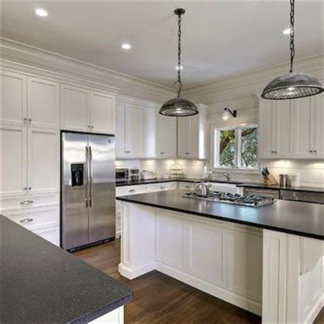 Black Leather Granite Kitchen by Leathered Black Granite Countertops Transitional