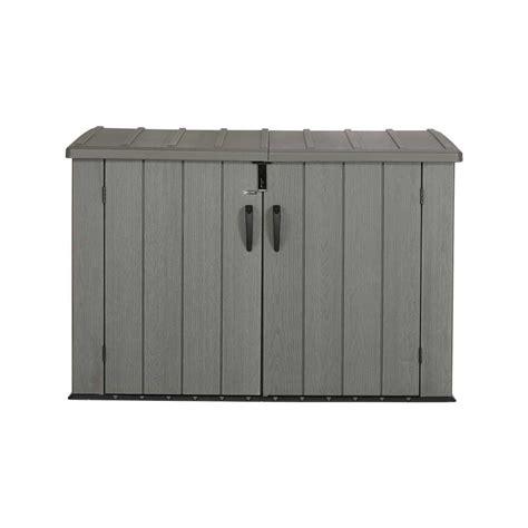 Horizontal Storage Shed Lifetime Outdoor Garbage Bin 60212 Brown 6 Horizontal