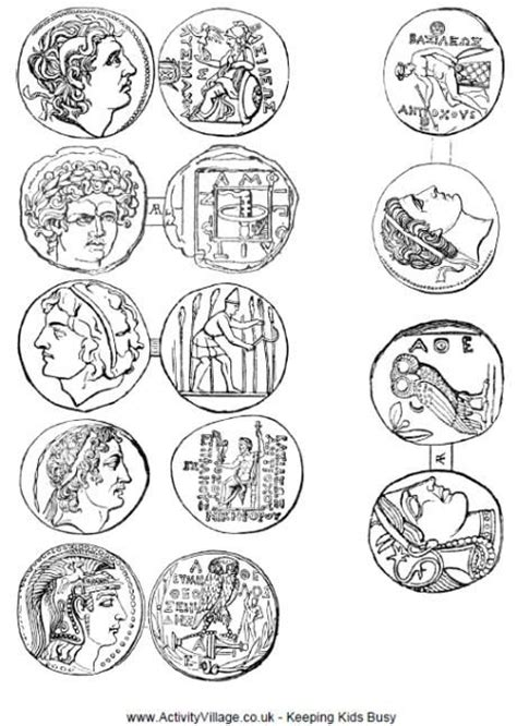 printable quarter coin free printable coins from ancient greece to color and cut