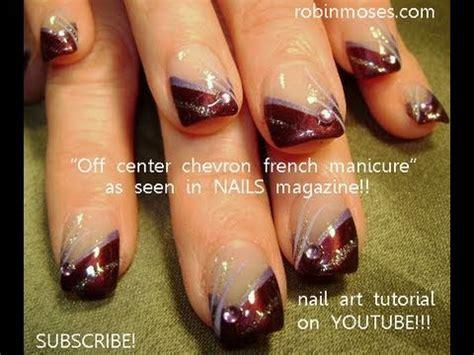 easy purple diagonal french nail art youtube