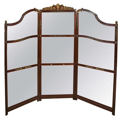 Mirror Room Divider Three Panel Room Divider Or Screen Mirror And Mahogany Early 19th Century For Sale At 1stdibs