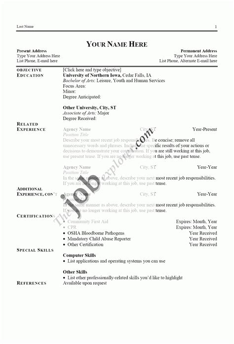 exle of resume templates exles of a resume template learnhowtoloseweight net