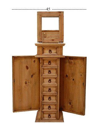 Real Wood Jewelry Armoire by Rustic Western Real Wood Jewelry Chest With Side Door