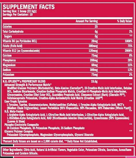 n o xplode energy drink bsn no xplode nutrition facts dandk
