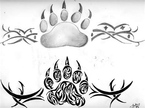 bear paw tribal tattoo paws by kelseysparrow67 on deviantart