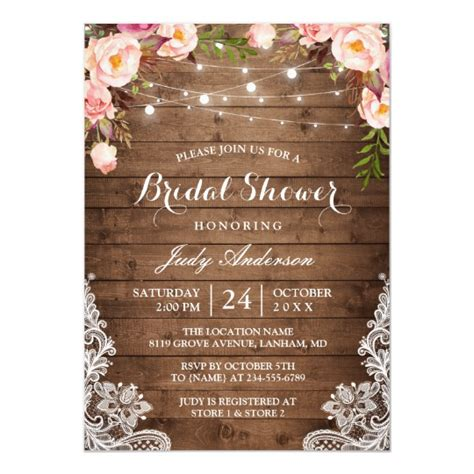 rustic string lights lace floral bridal shower card zazzle
