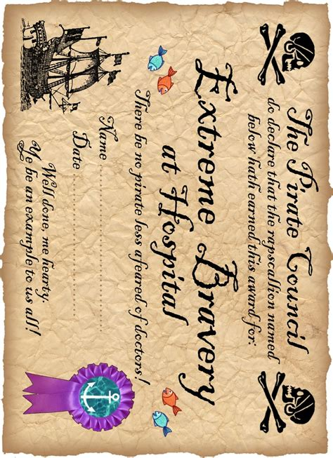 pirate certificate template printable pirate award for being brave in hospital