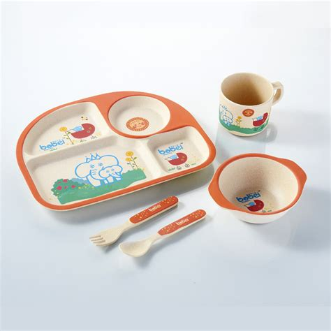 Animal Tableware Bamboo Fiber Part 1 the new children s bamboo fiber tableware five sets of square oval bowl plate set of baby spoon