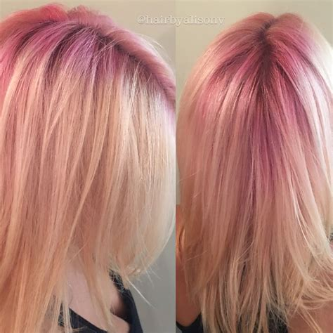 pink roots colored roots are the hair trend for