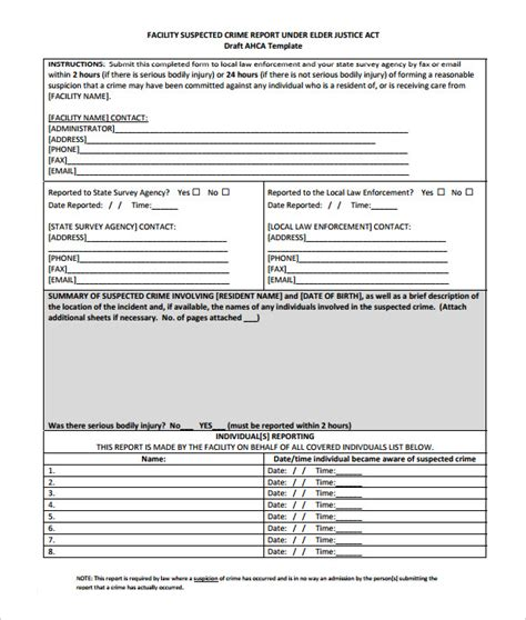 crime templates sle crime report 11 documents in pdf word