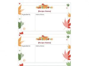 thanksgiving gift cards template thanksgiving recipe cards thanksgiving recipe cards