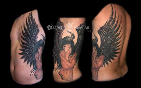 angel demon tattoo by jared preslar tattoonow