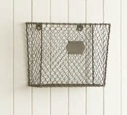 pottery barn mail wire mesh wall mount magazine rack eclectic storage
