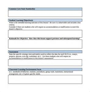 Common Lesson Plan Template by Sammple Common Lesson Plan 8 Exle Format