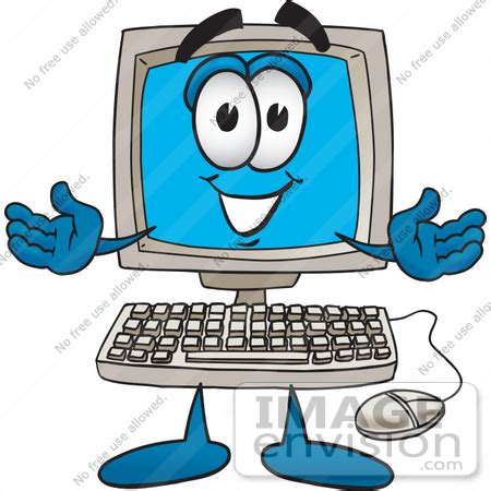 clip art graphic of a friendly desktop computer cartoon