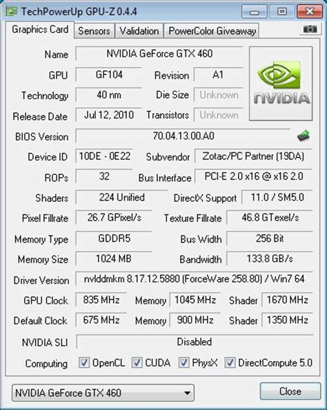 nvidia geforce gtx 460: specifications and reviews