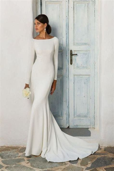 boat neck long sleeve wedding dress simple and sleek long sleeve boatneck gown weddinggowns