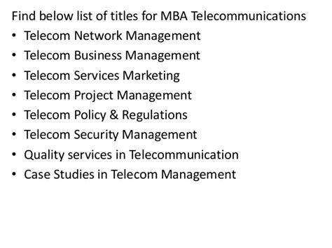 Mba In Telecom Management In Mumbai project report titles for mba in telecommunications
