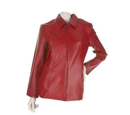 dialogue 2 way stretch washable leather jacket qvc