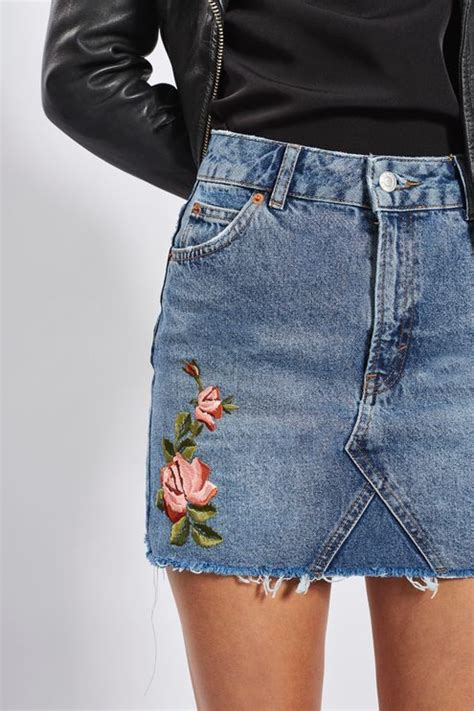 update the denim skirt in this unique style in a mid