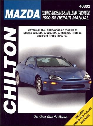 vehicle repair manual 1993 mazda protege regenerative 323 mx3 626 mx6 millenia 1990 1998 probe 1993 1997 repair manual