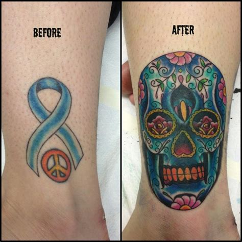 skull cover up tattoo sugar skull cover up by fortier at lucky 7