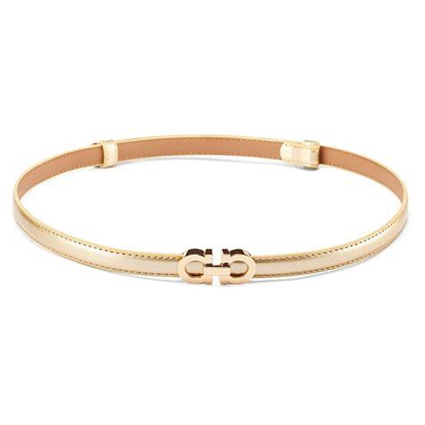 Belt Gold moyoto s stylish thin patent leather gold