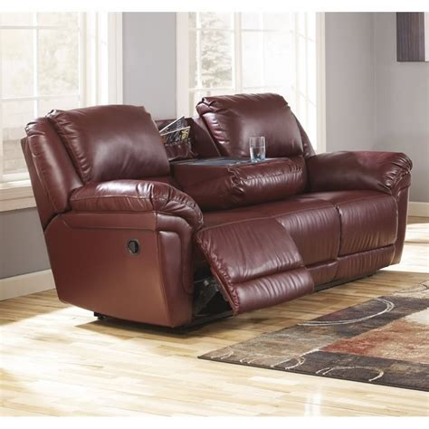 Reclining Sofa With Table Magician Leather Reclining Sofa With Drop Table In Garnet 7610089