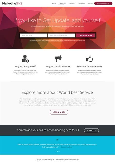 Free Corporate And Business Web Templates Psd Business Landing Page Template