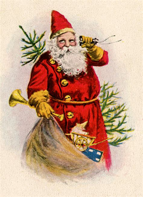 vintage christmas clip art santa with toys the
