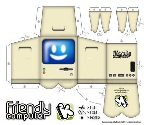 Computer Paper Crafts - friendly computer papertoy by beraka on deviantart
