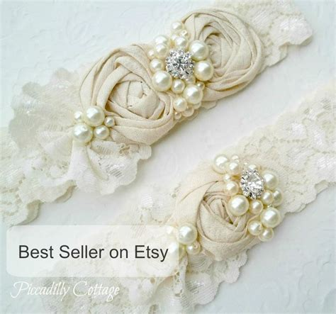 Wedding Garter Sets by Ivory Wedding Garter Set Dupioni Silk Rosettes Heirloom
