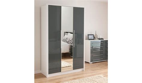 Armoire For Kids Minsk Grey Gloss Wardrobe With Mirrors 3 Door