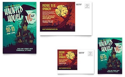 Haunted House Poster Template Design Postcard Template Illustrator