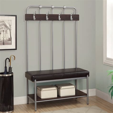 storage bench seat with coat rack new hall tree bench coat rack entry way mud room metal