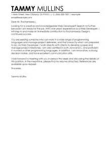 Web Developer Cover Letter Exle by Web Developer Cover Letter Exles It Sle Cover Letters Livecareer