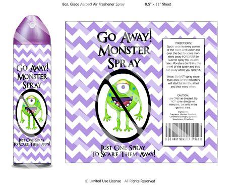 printable label for monster spray go away monster spray 3 m109 1 95 bottlecap buzz