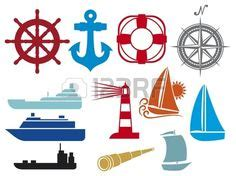the open boat lighthouse symbol lighthouse blue nautical and sailor icons stylized sailor