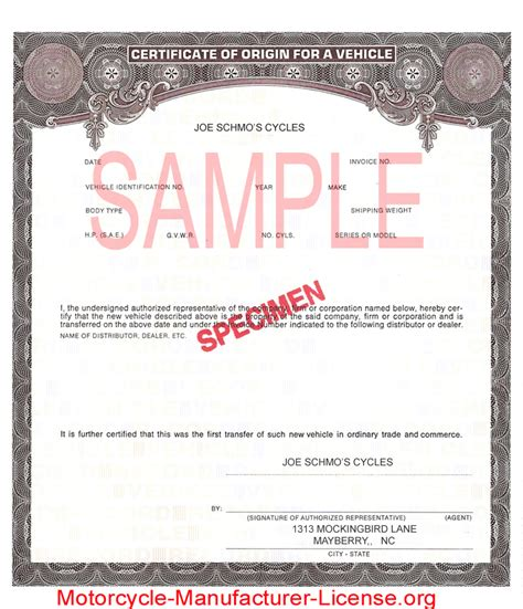 certificate of origin for a vehicle template gsa form 97 governmental services corporation