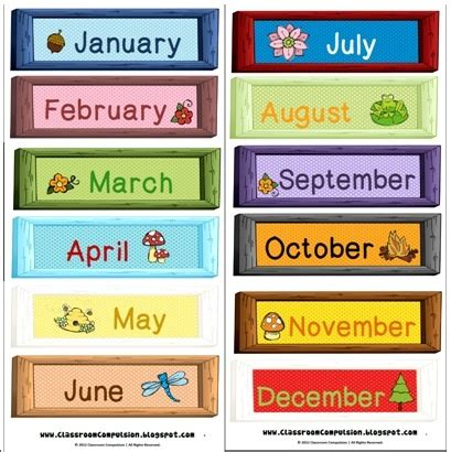 Months Of The Year Calendar Best 25 Month Labels Ideas On