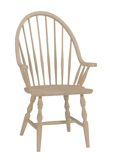 Amish Kitchen Furniture unfinished tall windsor arm chair w wood seat built two