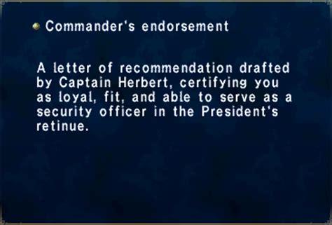Commanding Officer Endorsement Letter Exle commander s endorsement ffxiclopedia fandom powered by