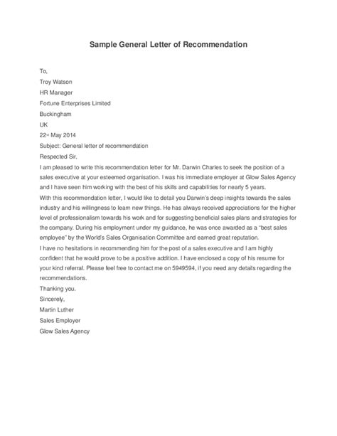 template for a letter of reference general letter of recommendation template best template