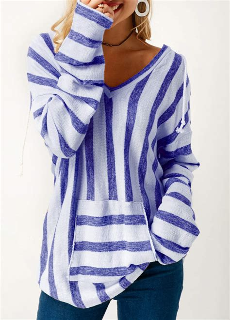 Striped Hooded Sleeve T Shirt sleeve striped hooded collar blue t shirt liligal