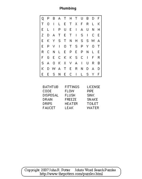 Words Related To Plumbing word search puzzle for search results calendar 2015