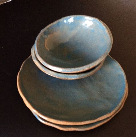 Bowl Plate ceramic set 2 blue bowls 2 blue plates