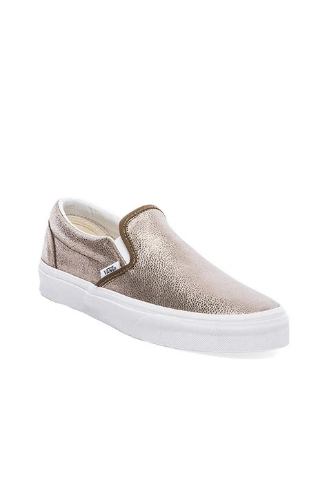 metallic slip on sneakers vans classic slip on sneaker in metallic lyst
