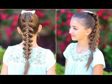 stacked pull thru braid | cute girls hairstyles youtube
