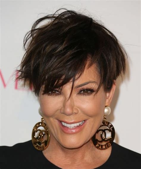 kris jenner haircut kris jenner short straight casual hairstyle with side